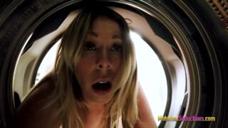 Stuck Freeuse Hot busty blonde mom ass up in thong and hand stuck in washing machine
